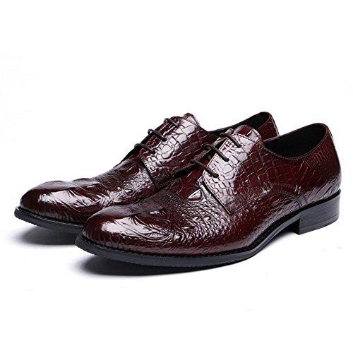 Hommes Crocodile Modèle Cuir Chaussures Intelligent Oxford Formel Entreprise pour hommes Lacer Noir marron Mariage Bureau Travail Brown vfP9sd2oT4