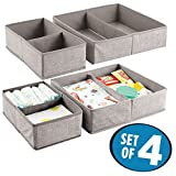 mDesign Fabric Baby Nursery Storage Organizers for Clothing, Towels, Diapers, Lotion, Wipes - Set of 4, 4 Total Compartments, Linen