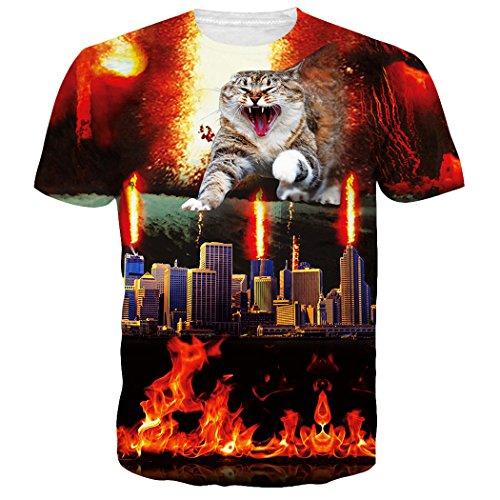 Leapparel Unisex 3D Funny Cat Designed Print Hip Hop T Shirts Tees Clothes L