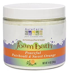 Aura Cacia Aromatherapy Foam Bath, Peaceful Patchouli and Sweet Orange, 14 ounce jar