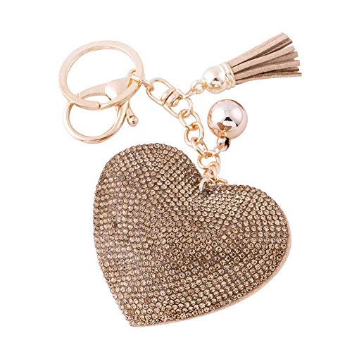 Cute Heart Charm - Soleebee Glitter Love Heart Keychain Premium SS6 Crystal Tassel Key Chain Leather Bag Charm for Women Girls (Light gold)