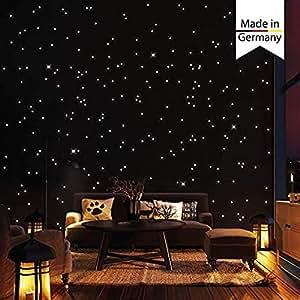 Wandtattoo-Loft Cielo 350 fluorescente Puntos luminosos y Estrellas autoadhesiva 150 brillante + 200 Puntos Adhesivo pared con largo Luminosidad, habitaciones infantiles dormitorios