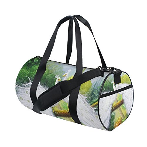 Evolutions White Peacock Couple Duffels Bag Sports Gym Bags for Men & Women by Evolutions