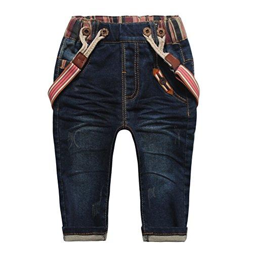 Baby Little Boys' Girls' Suspenders Pants Woven Tape Denim Bib Pants Size ()
