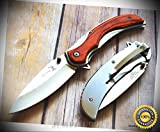 FRAME-LOCK FOLDING SHARP KNIFE WOOD HANDLE WITH POCKET CLIP - Premium Quality Hunting Very Sharp EMT EDC