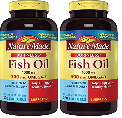 Nature Made Burpless Fish Oil 1000mg Softgels, 2 Pack