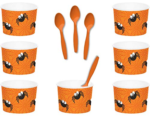 Witch Themed Halloween Food (Halloween Spider Themed Paper Ice Cream/Dessert/Snack Serving Bowls With Spoons Bundle - 24)