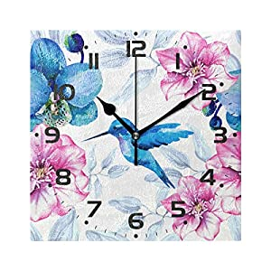 Naanle Hummingbird On Watercolor Floral Pink Blue Orchid Flower Round/Square/Diamond Acrylic Wall Clock Oil Painting Home Office School Decorative Creative Dual Use Clock Art