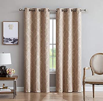 LinenZone Evelyn – Embossed Thermal Weaved Grommet Blackout Curtains – Room Darkening Noise Reduction Fabric – Blocks up to 97 of Sunlight – Premium Draperies Pair, 38 W x 84 L, Taupe