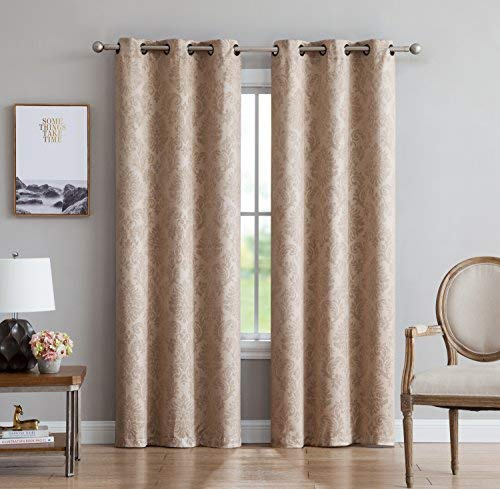 LinenZone Evelyn - Embossed Thermal Weaved Grommet Blackout Curtains - Room Darkening & Noise Reduction Fabric - Blocks up to 97% of Sunlight - Premium Draperies (Pair, 38