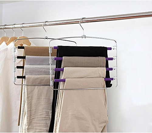 Kaleep 2 Pack Multi Layers Metal Non-slip Foam Padded Pant Slack Hangers-Swing Arm Clothes Pants Hangers Closet Storage Organizer for Pants Jeans Trousers Scarf Hanging