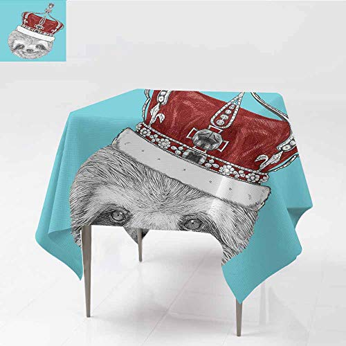 Square Tablecloth Sloth Queen Size Cute Hand Drawn Animal with Imperial Ancient Crown King of Laziness Theme Aqua Burgundy Grey for Kitchen Dinning Tabletop Decoration W50 xL60