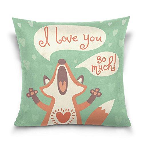 ALAZA® I Love You so Much Cute Cartoon Fox Green Print,Cotton Velvet Square Throw Pillow Case Decorative Cushion Cover Pillowcase Cushion Case for Sofa,Bed,Chair,Auto Seat,(20x20inch) Twin Sides