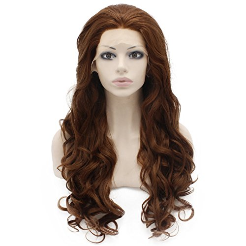 Mxangel Long Wavy Heat Resistant Fiber Synthetic Lace Front Brown Auburn Natural Wig (Wig Brown Angel)