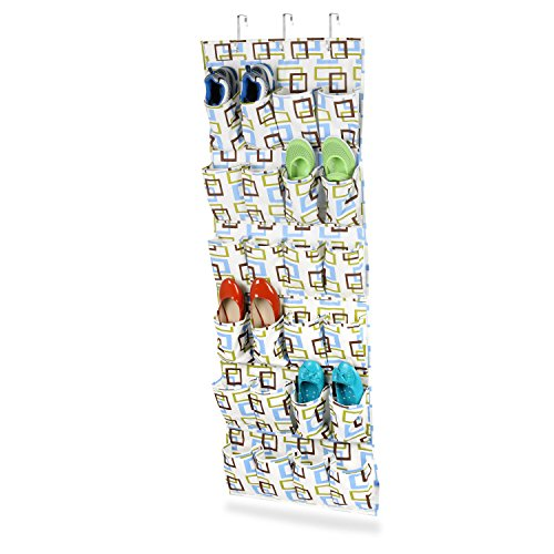 Honey-Can-Do SFT-01568 Over The Door Shoe Organizer/Storage Rack, Green/Blue/Brown