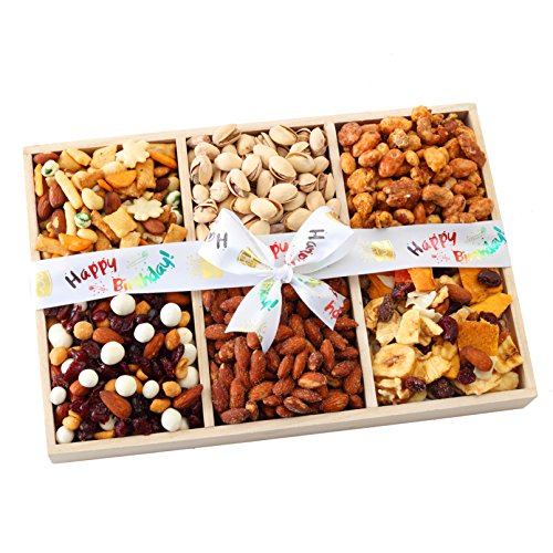 Broadway Basketeers Birthday 5 Section Gourmet Chocolate Gift Basket Candy & Nuts Assortment - Perfect Way to Say Happy Birthday Gifts