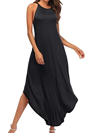 f54fab046b YiNai Women Summer Casual Halter Loose Cami Maxi Beach Dress with Pocket  Black S