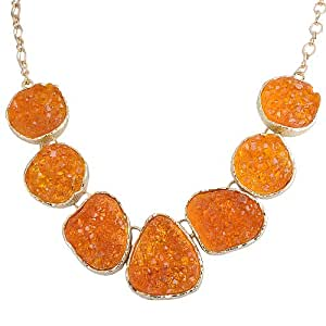 Jane Stone Orange Drusy Necklace Statement Necklace Bib Necklace Chunky Necklace(Fn0833-Orange)