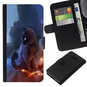 EJOY---La carpeta del tirón la caja de cuero de alta calidad de la PU Caso protector / Samsung Galaxy Core Prime / --Trueno negro gato