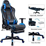 GTRACING Gaming Chair with Footrest Racing Heavy Duty Big & Tall Adjustable Recliner with Headrest Lumbar Support Pillow High Back Ergonomic Computer Desk Executive Office Chair GT909 Blue