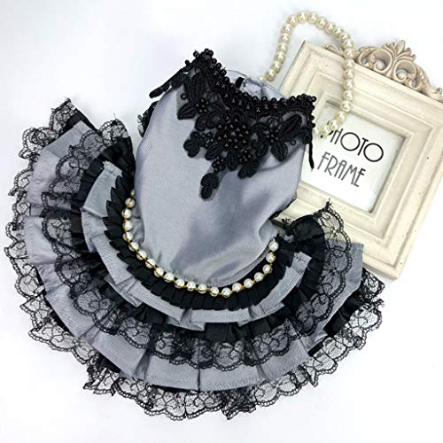 Beyonds Puppy Dog Dress, Noble Pearl Lace Tutu Dress 2019 New Party Weding Dress Dog Harness Flower Skirt Princess Clothes Pet Cat for Small Dog Apparel Clothes