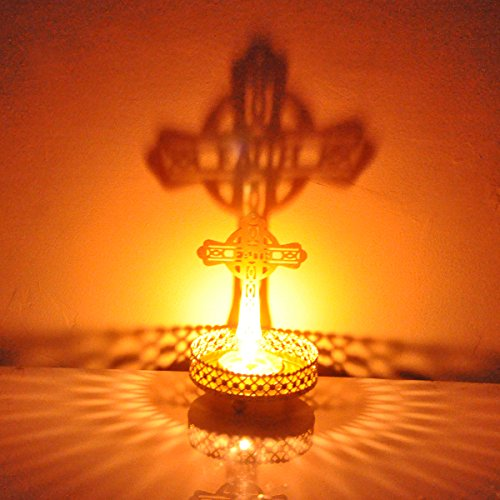 Cross Votive Holder - Hashcart Traditional Tea Light Candle Holder/Metal Candle Light Holder Set/Designer Votive Candle Holder Stand/Table Decorative Candle Holders, Cross Shadow Tea Light for Home Living Room & Office