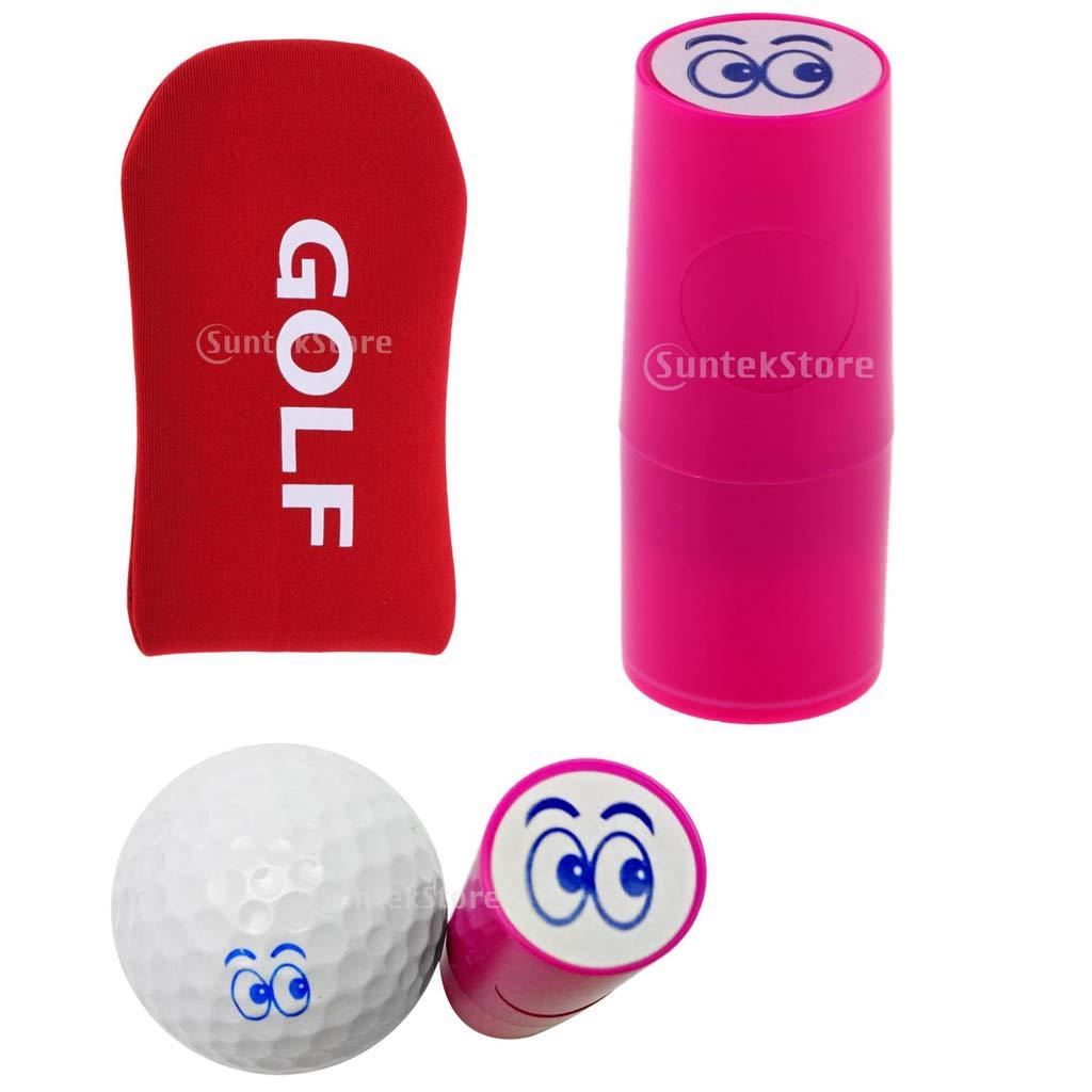 Baosity ゴルフボールスタンプスタンパーマーカー アイ+ゴルフマレットヘッドカバーパターカバー1点   B07J6PC45W