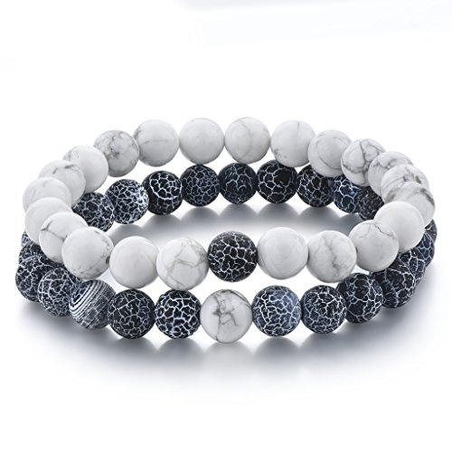 Kuen 2pcs Cracked Design Agate Black & howlite Round Stone Marble Distance Bracelet for Couple Friendship (Round Friendship Bracelets)