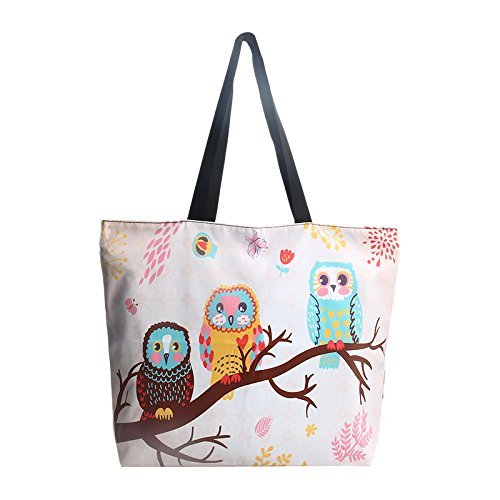 Newplenty Ladies Zippered Light Shoulder Shopping Tote Bag Handbag Beach Satchel (Cute Owls) -