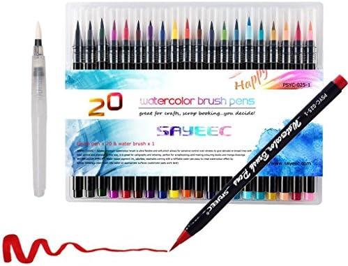 SAYEEC カラーペン 水性 毛筆 水彩 ブラシ 20色 セット 画材 絵の具 お絵描き フックライン 塗り絵