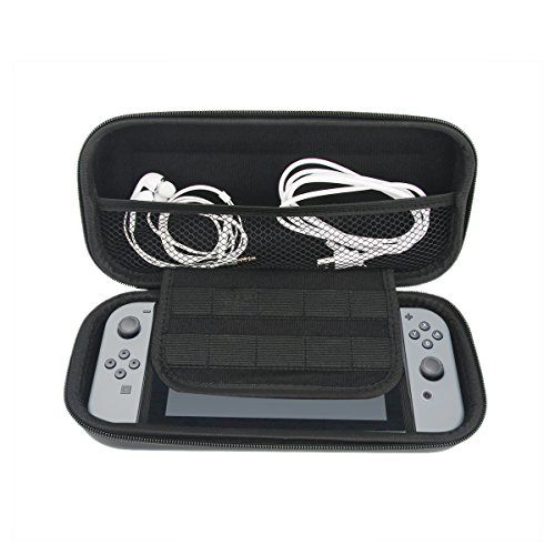 Nintendo Switch Case, Yuqoka Hard EVA Shell Travel Carrying Protective Storage Bag with 10 Game Slots for Nintendo Switch 2017 - Black (Eva 07)
