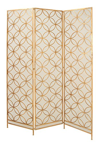 "Deco 79 67068 Modern Metal 3-Panel Room Divider, 79"" H x 57"" L, Textured Gold Finish"