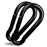 Apor Metal Carabiner Key Chain Durable Round Shape Hook Buckle Carabiner Clip for Camping, Fishing, Hiking, Traveling and More Black (2 Pcs)