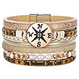 Graduation Gifts for Her Compass Leather Wrap Boho Multilayer...