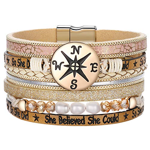 DESIMTION Back to School Graduation Gifts for Her Leather Wrap Boho Bracelet Perfect College/High Graduation Gifts for Her or Present for Girls Boys Granddaughte ()