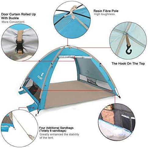 WYYHAA Automatisches Pop-Up-Stranddach tragbares Instant-Cabana-Zelt Geeignet f/ür 3-4 Personen T/üren auf beiden Seiten Wasserdicht und UV-Schutz Bel/üftet Langlebig