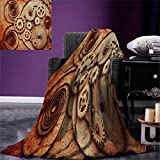 Vintage Digital Printing Blanket Mechanical Clocks Details Old Rusty Look Backdrop Gears Steampunk Design Summer Quilt Comforter 80''x60'' Dark Orange Beige