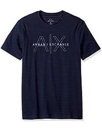 Men's Striped Crew Neck Tee with Sewn Logo