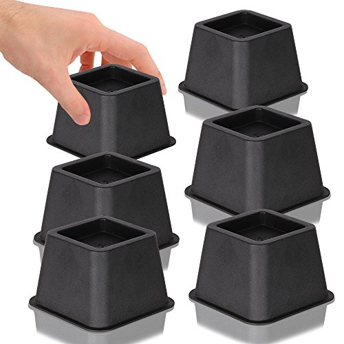 DuraCasa Bed Risers, Raises Your Bed or Furniture To Create an Additional 3 Inches of Storage! Reinforced New Heavy-Duty Design To Hold Over 2000 LBS! Desk, Sofa, and Chair Lift (Set of 6 Risers) (Modular Riser)