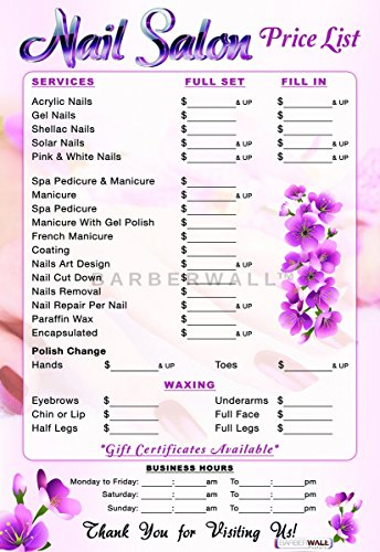 Nail Salon Price List Poster by Barberwall -