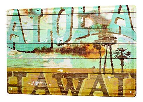 Hawaii Tin (LEotiE SINCE 2004 M.A. Allen Retro Tin Sign U.S. Deco Aloha Hawaii Surfing dream island 20x30 cm Large Metal Wall Decoration Vintage Retro Classic Plaque)