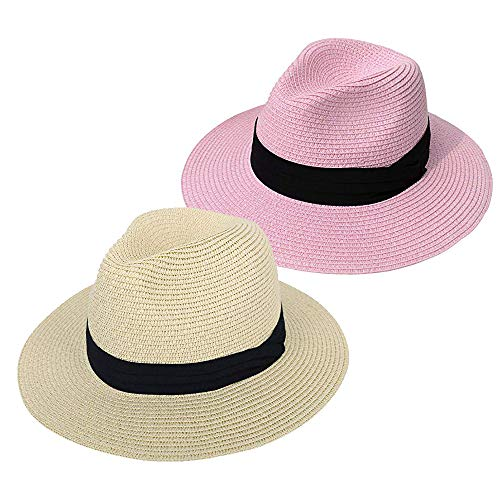 (Besiefy Women Straw Panama Hat Fedora Beach Sun Hat Wide Brim Straw Roll up Hat UPF 50+ (Khaki+Pink))