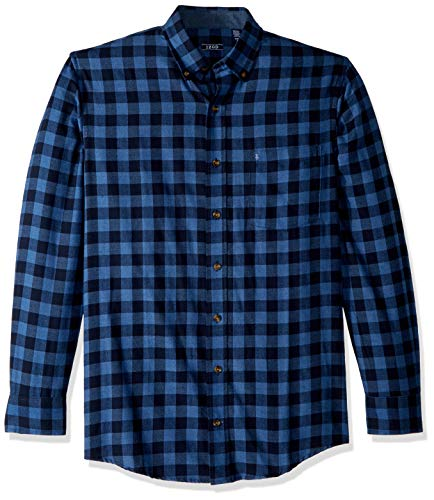 IZOD Men's Big and Tall Stratton Long Sleeve Button Down Check Flannel Shirt, Cobalt Blue, - Izod Flannel
