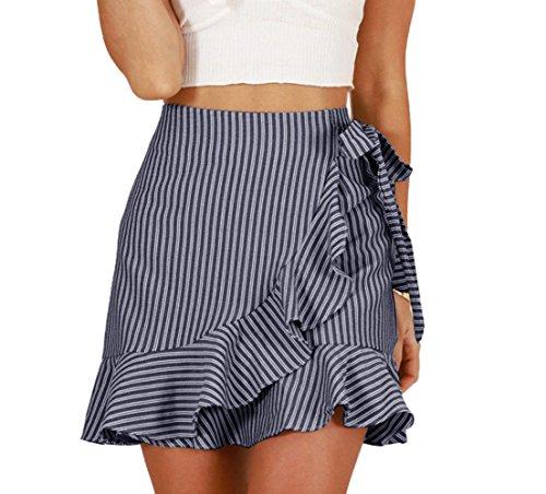 Freestyle Femme Mini Jupe de Fte Cocktail t Jeune Fashion Raye Jupes de Plage Chic C?t Feuille de Lotus Irregulier Jupe avec Bandage Noir