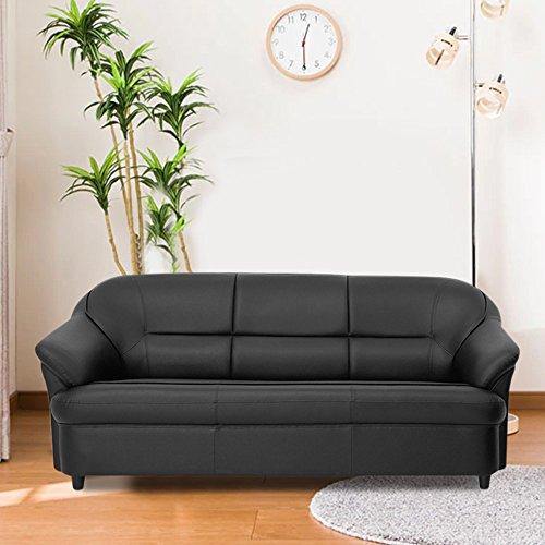 Furny Martina 3 Seater Leatherette Sofa Set  Black