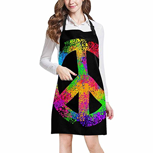 InterestPrint Hipster Cool Hippie Peace Sign Symbols Unisex Adjustable Bib Apron with Pockets for Women Men Girls Chef for Cooking Baking Gardening Crafting, Large Size