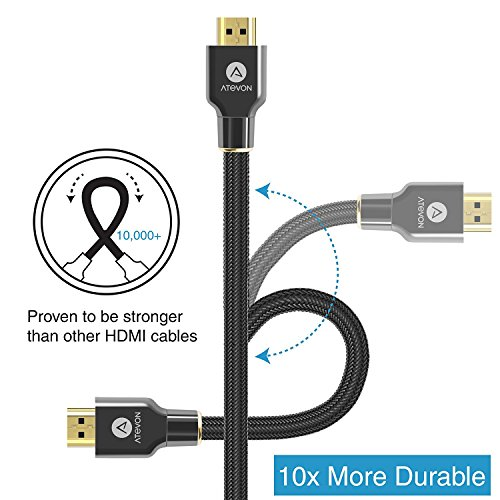 4K HDMI Cable 6 ft - Atevon High Speed 18Gbps HDMI 2.0 Cable - 4K HDR, 3D, 2160P, 1080P, Ethernet - 28AWG Braided HDMI Cord - Audio Return(ARC) for UHD TV, Blu-ray Player, Xbox, PS4/3, PC, Apple TV