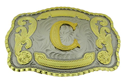 Initial Letters Western Style Cowboy Rodeo Gold Large Belt Buckles (Large Square, C LETTER) by buckleszone.