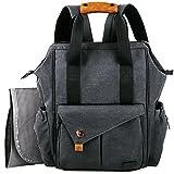 HapTim Baby Diaper Bag Backpack W/Stroller Straps- Multi-function Designer diaper bags Large Capacity, Insulated Pockets,Changing Pad, Waterproof (Dark Gray-5279). Image