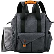 HapTim Baby Diaper Bag Backpack W/ Stroller Straps- Multi-function Designer diaper bags Large Capacity, Insulated Pockets,Changing Pad, Waterproof (Dark Gray-5279).